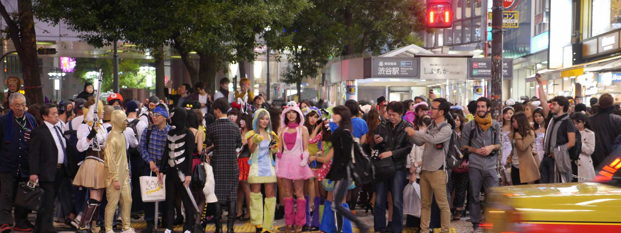 Halloween front crowd view in Shibuya streets